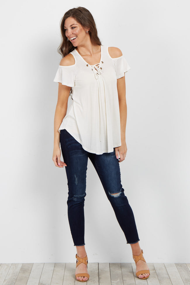 Ivory Lace-Up Cold Shoulder Top