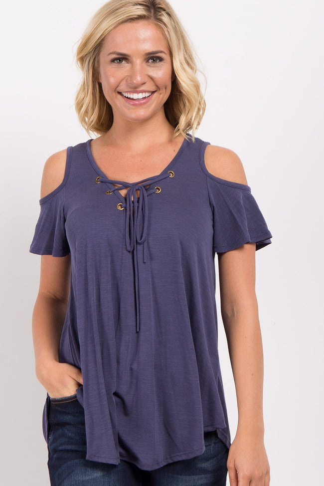 Navy Lace-Up Cold Shoulder Maternity Top