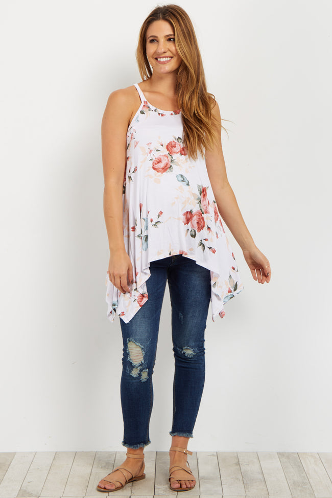 Ivory Rose Printed Asymmetrical Maternity Top