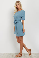 Blue Wrap Sash Tie Dress