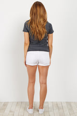 White Distressed Cuffed Maternity Short