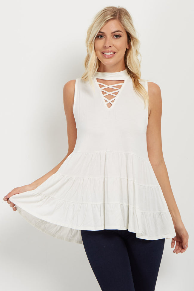 Ivory Crisscross Tiered Mock Neck Top