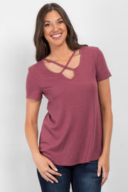 Mauve Crisscross Cutout Ribbed Top