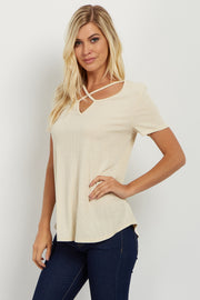 Cream Crisscross Cutout Ribbed Top