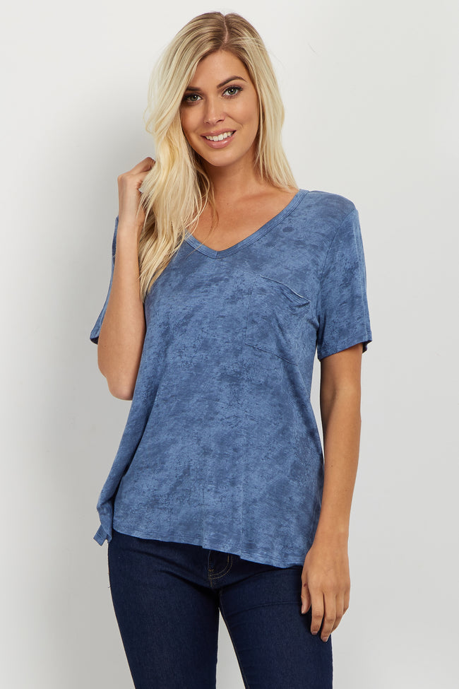 Blue Faded Wash V Neck Tee