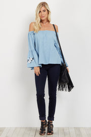 Light Blue Floral Embroidered Bell Sleeve Top