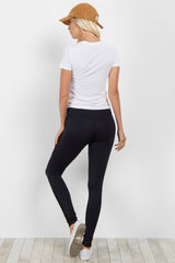Black Ribbed Side Workout Pant