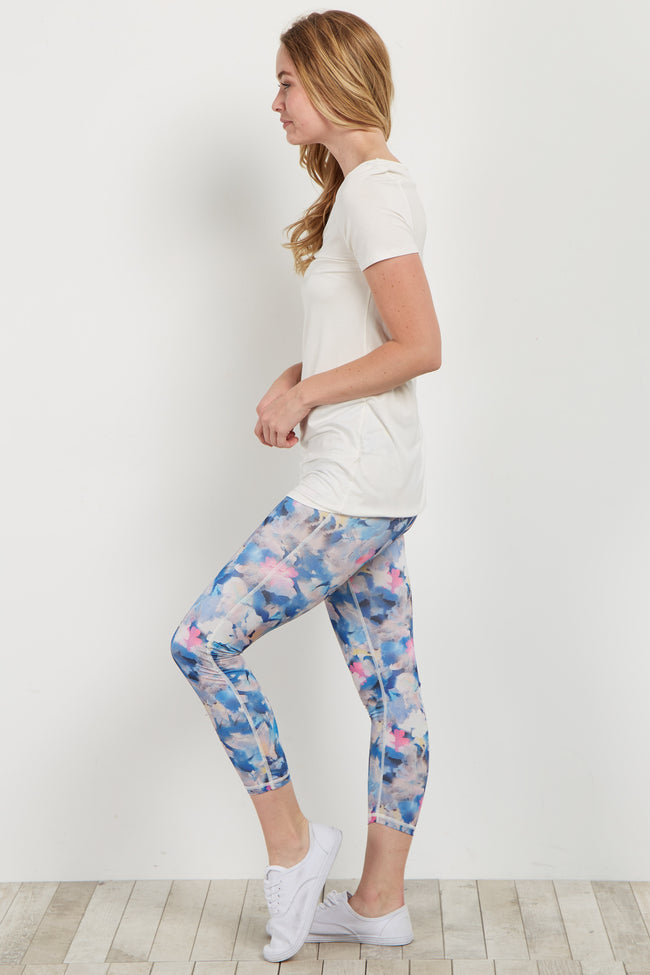 Multi-Color Floral Cropped Active Leggings