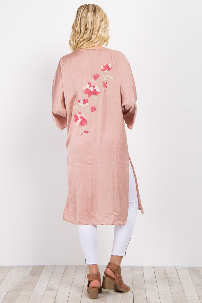 Pink Satin Floral Embroidered Long Cover Up