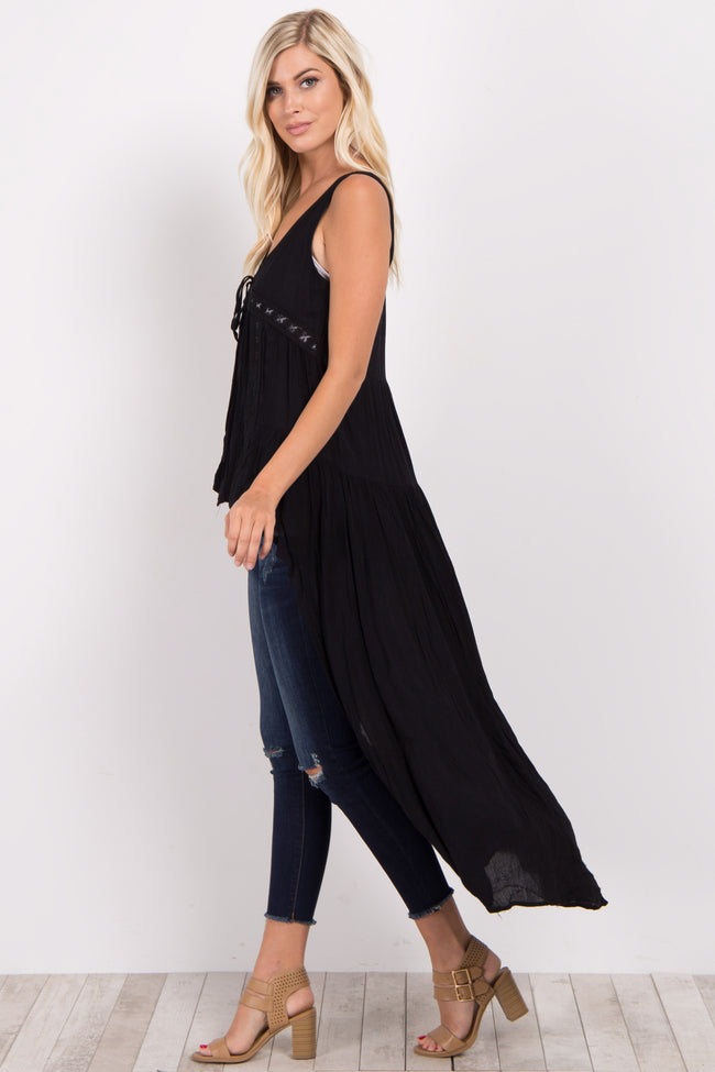 Black Hi-Low Crochet Tie Front Maternity Cover Up