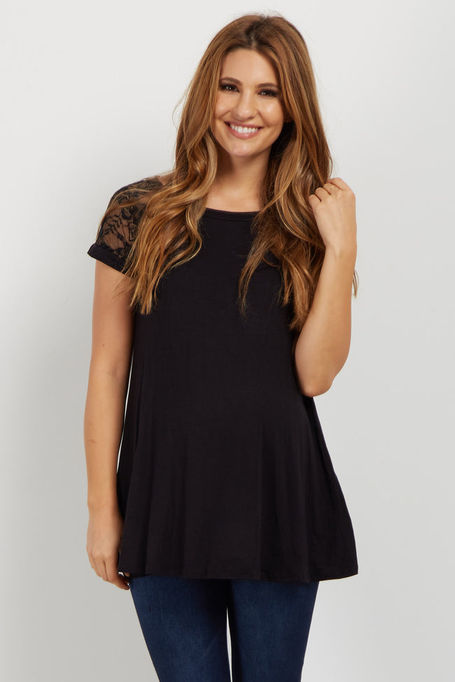 Black Lace Short Sleeve Maternity Top
