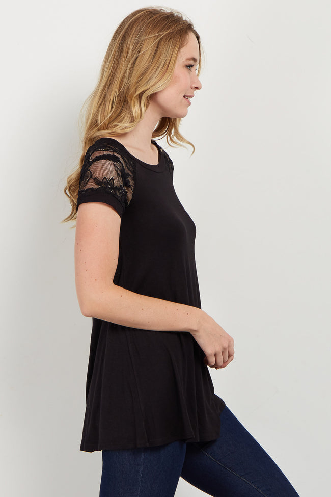 Black Lace Short Sleeve Top