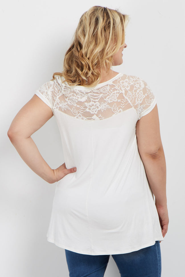 White Short Lace Sleeve Plus Maternity Top