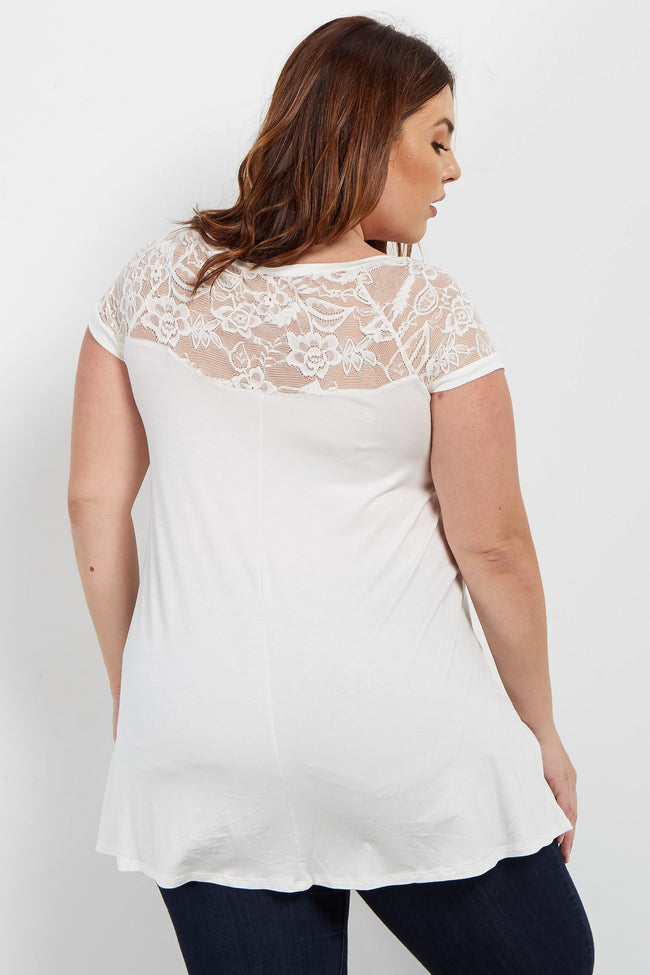 White Short Lace Sleeve Plus Top