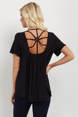 Black V Neck Back Cutout Top