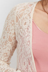 Cream Lace Crochet Trim Cover Up