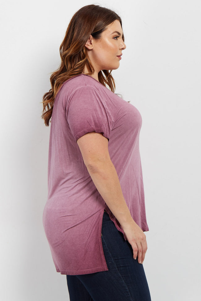 Mauve Basic Crisscross Front Plus Top