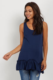 Navy Scalloped Ruffle Trim Maternity Tank Top
