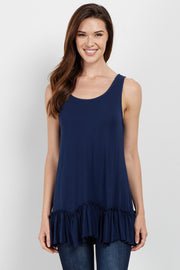 Navy Scalloped Ruffle Trim Tank Top