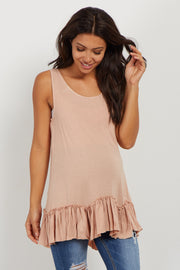 Pink Scalloped Ruffle Trim Maternity Tank Top