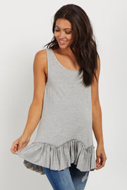 Heather Grey Scalloped Ruffle Trim Maternity Tank Top