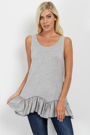 Heather Grey Scalloped Ruffle Trim Tank Top