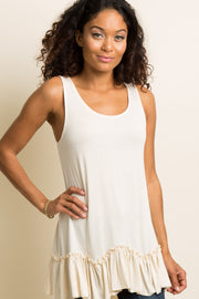 Ivory Scalloped Ruffle Trim Tank Top