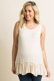 Ivory Scalloped Ruffle Trim Maternity Tank Top