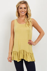 Yellow Scalloped Ruffle Trim Tank Top