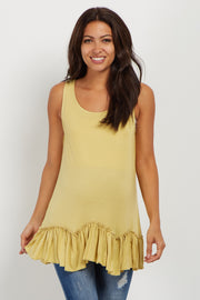 Yellow Scalloped Ruffle Trim Maternity Tank Top