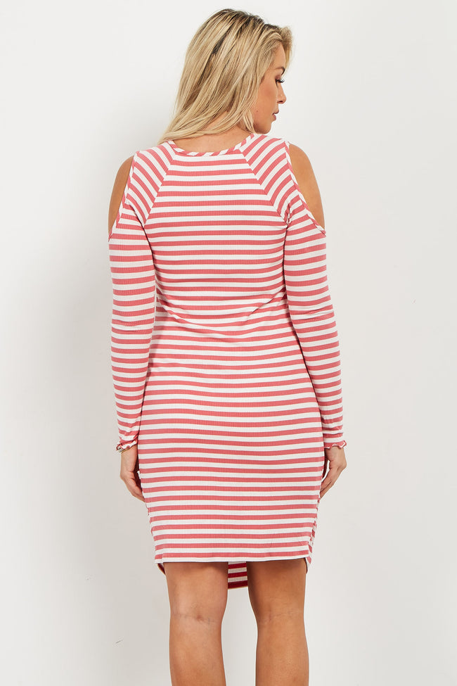 Pink Striped Cold Shoulder Fitted Ribbed Maternity Dress