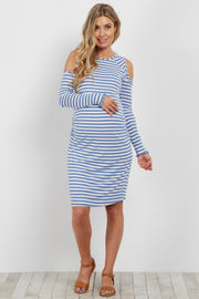 Blue Striped Cold Shoulder Fitted Ribbed Maternity Dress