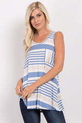 Blue Alternating Striped Maternity Tank Top