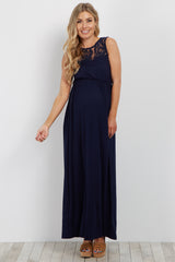 Navy Lace Accent Maternity Maxi Dress
