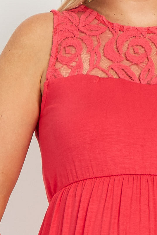 Coral Lace Accent Maternity Maxi Dress