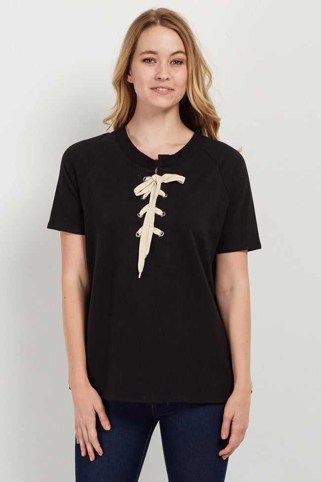 Black Lace-Up Short Sleeve Top