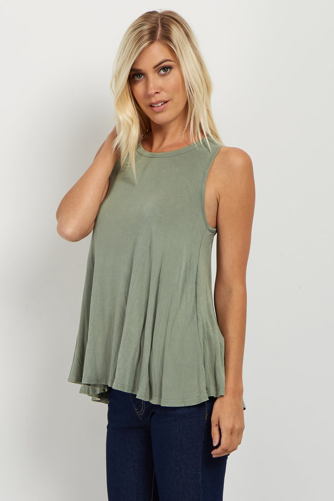 Light Olive Draped Open Back Tank Top