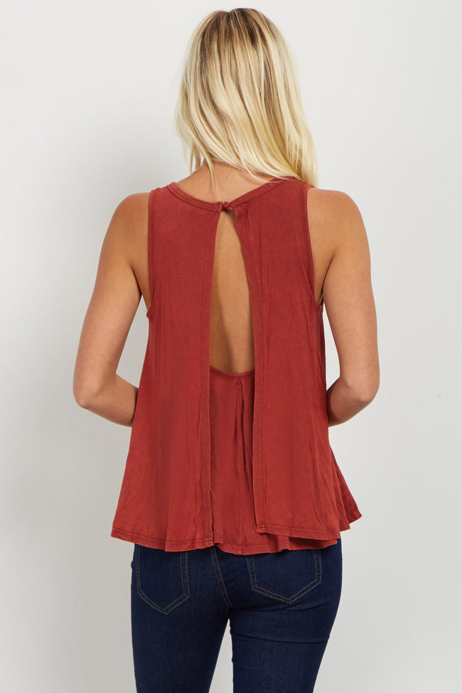 Rust Draped Open Back Tank Top
