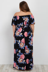 Black Floral Off Shoulder Sash Tie Plus Maternity Maxi Dress