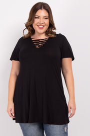 Black Crisscross Knot Front Plus Top