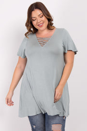 Sage Crisscross Knot Front Plus Top