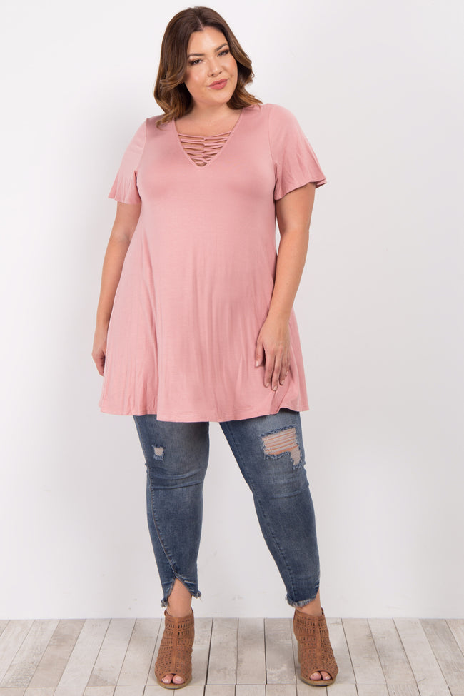 Pink Crisscross Knot Front Plus Top