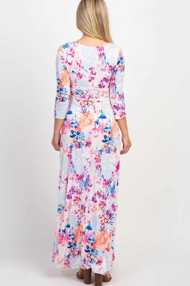 PinkBlush Cream Floral Paisley Wrap Maternity Maxi Dress