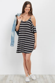 Black Striped Open Shoulder Dress