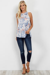 Blue Floral High Neck Tank Top