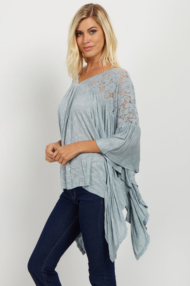 Teal Lace Accent Asymmetrical Poncho Top