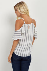 Ivory Striped Open Shoulder Top
