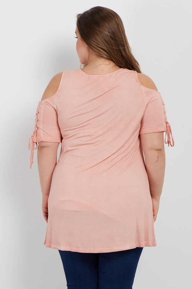 Peach Lace Up Sleeve Cold Shoulder Plus Maternity Top