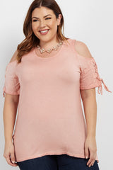 Peach Lace Up Sleeve Cold Shoulder Plus Top