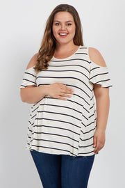 Ivory Striped Cold Shoulder Plus Maternity Top